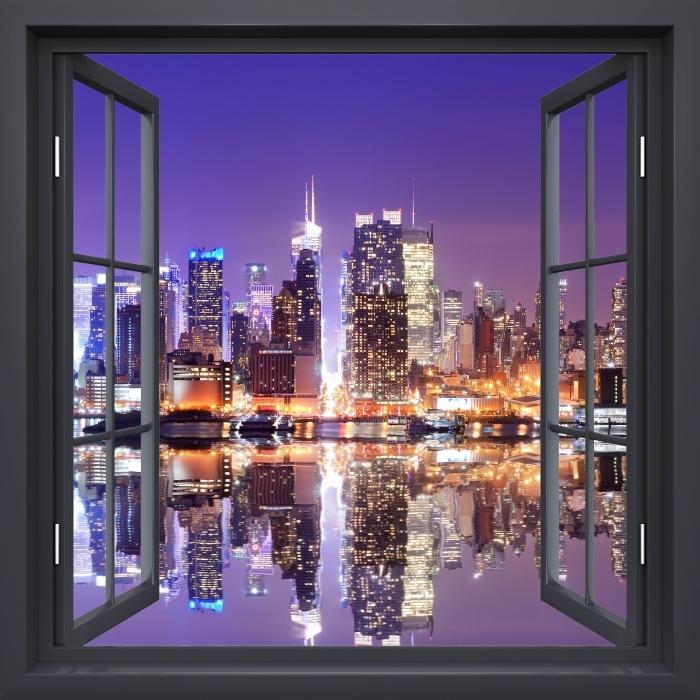 Fototapeta winylowa Okno czarne otwarte - Manhattan - Widok przez okno