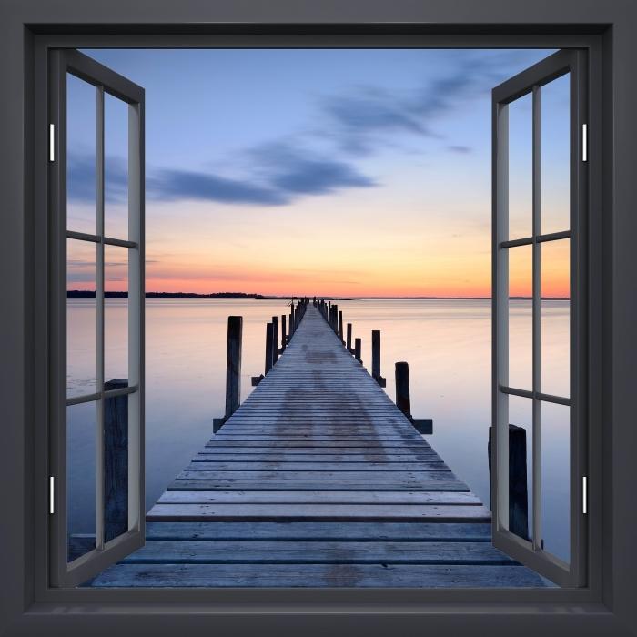 Papier peint vinyle Fenêtre Noire Ouverte - Pier - La vue à travers la fenêtre