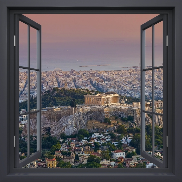 Papier peint vinyle Fenêtre Noire Ouverte - Parthénon. Grèce - La vue à travers la fenêtre