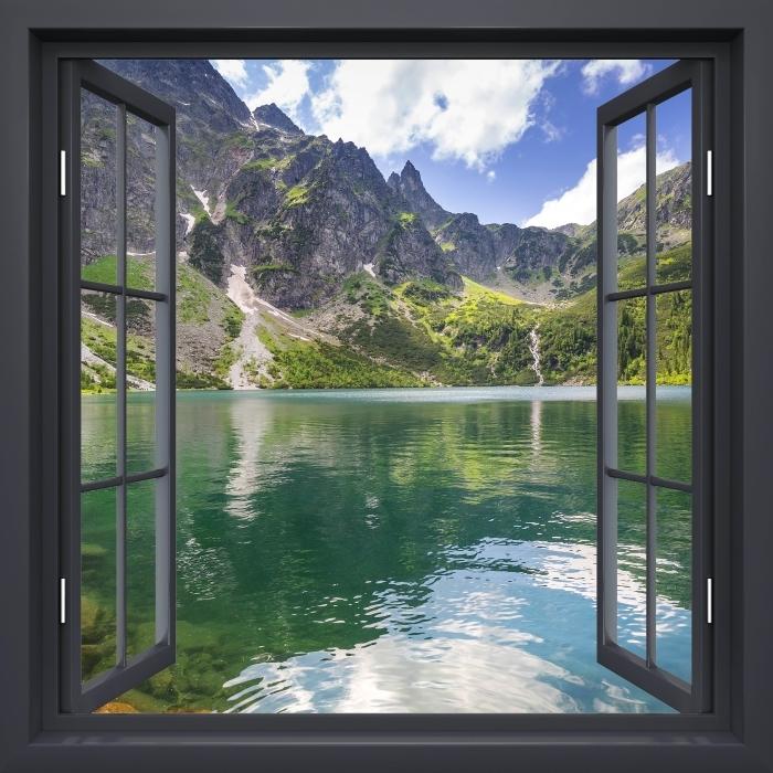 Fototapeta winylowa Okno czarne otwarte - Tatry - Widok przez okno