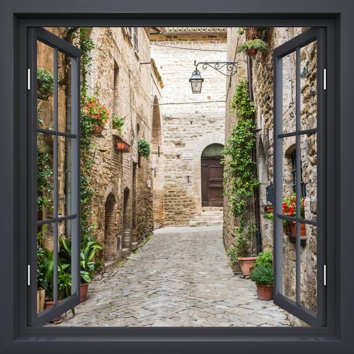 Fototapeta zmywalna Okno czarne otwarte - Włochy - Widok przez okno
