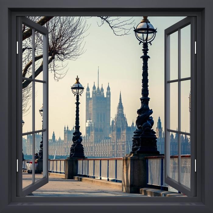 Fotomural Estándar Negro Ventana Abierta - Big Ben. Londres. - Vistas a través de la ventana