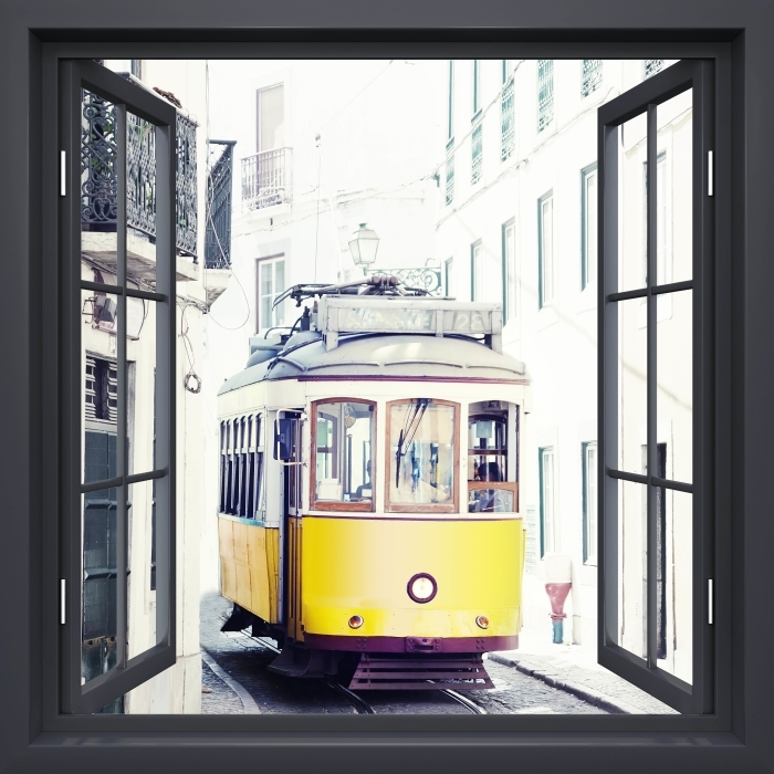 Papier peint vinyle Fenêtre Noire Ouverte - Lisbonne - La vue à travers la fenêtre