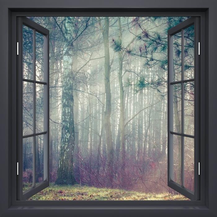 Vinyl-Fototapete Schwarz-Fenster geöffnet - Wald im Nebel - Blick durch das Fenster