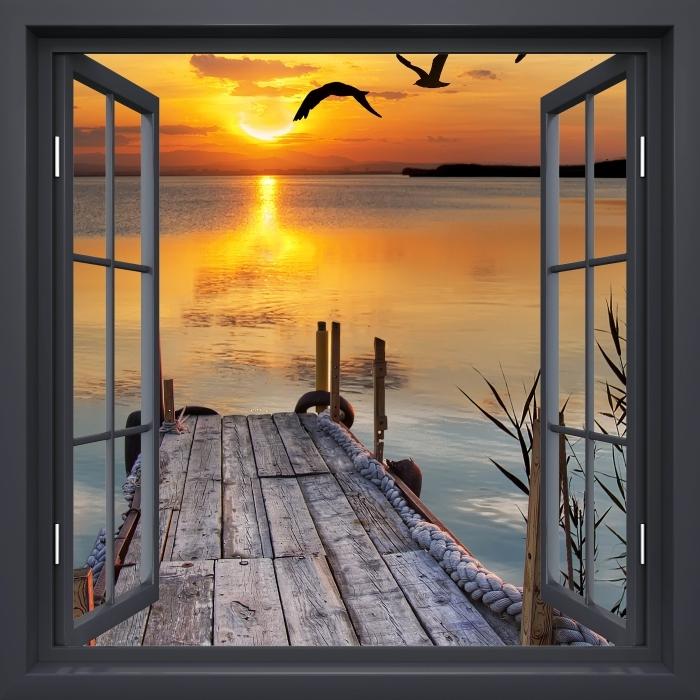 Black window open - Lake Vinyl Wall Mural - View through the window