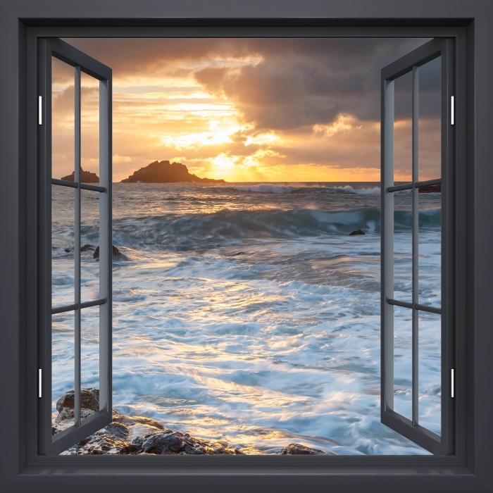 Fototapeta samoprzylepna Okno czarne otwarte - Wielka Brytania - Widok przez okno