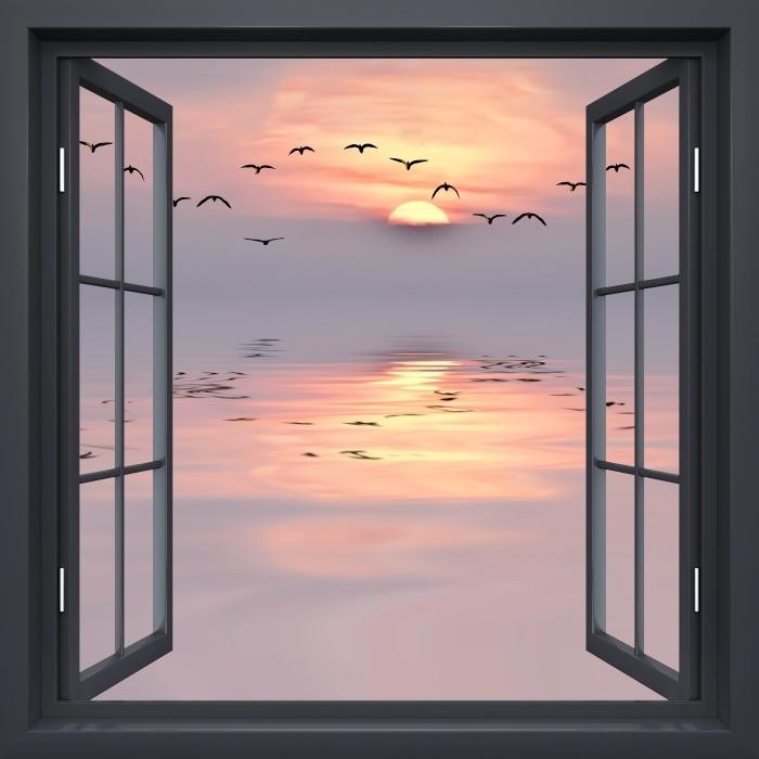 Fototapeta winylowa Okno czarne otwarte - Zachód słońca - Widok przez okno