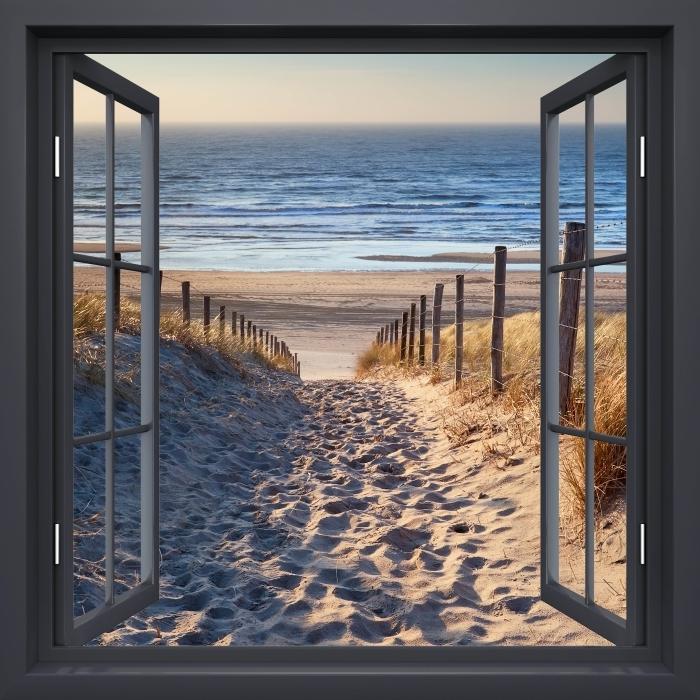 Carta da Parati in Vinile Nero finestra aperta - Mare del Nord - Vista attraverso la finestra