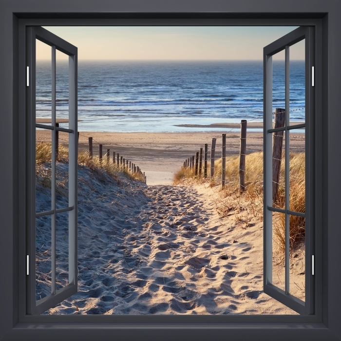 Black window open - North Sea Vinyl Wall Mural - View through the window