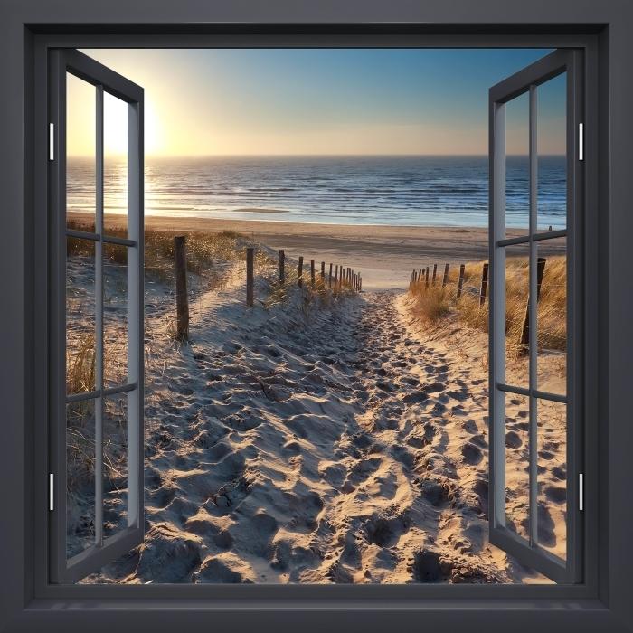 Vinyl Fotobehang Black raam open - Noordzee - Uitzicht door het raam