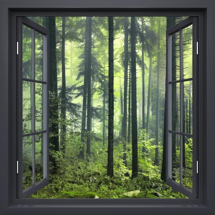Fototapeta winylowa Okno czarne otwarte - Tajemniczy ciemny las - Widok przez okno