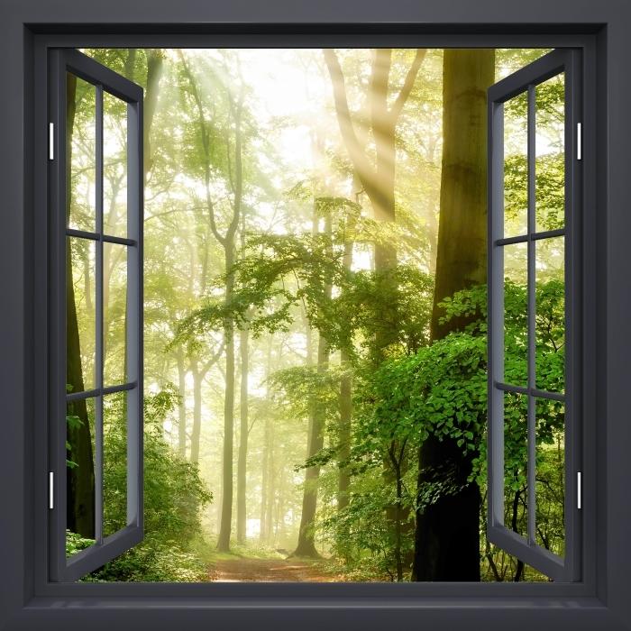 Fototapeta zmywalna Okno czarne otwarte - Las - Widok przez okno