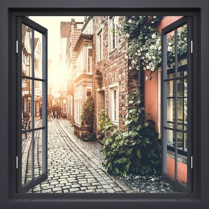 Fototapeta winylowa Okno czarne otwarte - Stare ulice - Widok przez okno