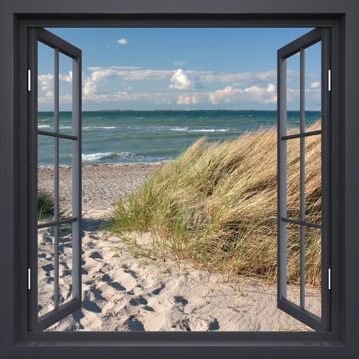 Fototapeta winylowa Okno czarne otwarte - Morze - Widok przez okno