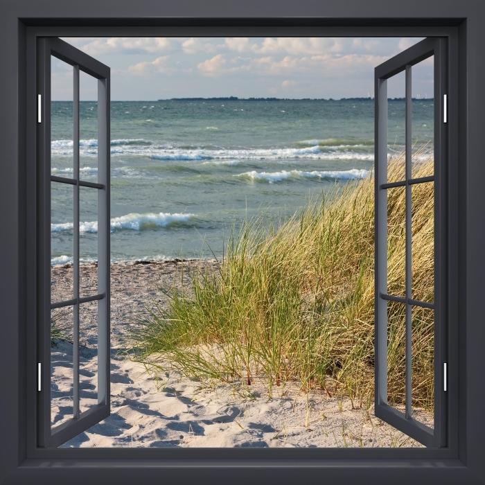 Fototapeta winylowa Okno czarne otwarte - Plaża - Widok przez okno