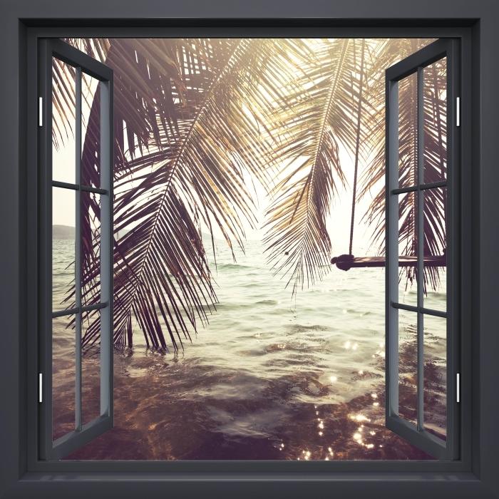 Fototapeta winylowa Okno czarne otwarte - Tropikalna plaża - Widok przez okno