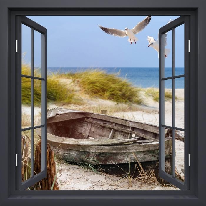 Fototapeta winylowa Okno czarne otwarte - Plaża nad morzem - Widok przez okno