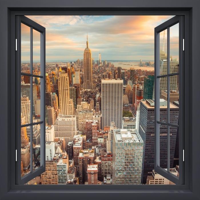 Papier peint vinyle Fenêtre Noire Ouverte - Vue Sur Le Coucher Du Soleil À New York - La vue à travers la fenêtre