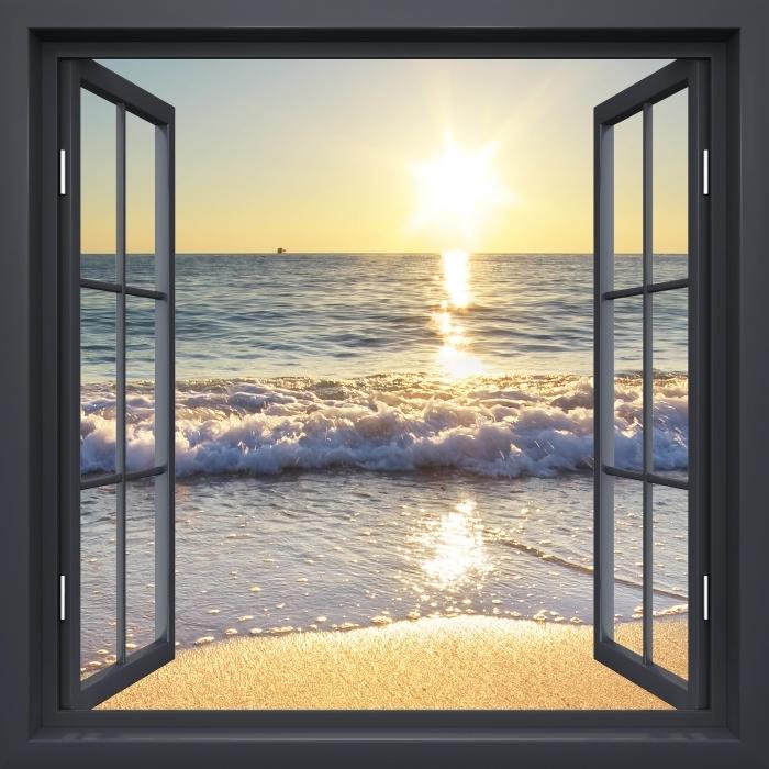Papier peint vinyle Fenêtre Noire Ouverte - Mer D'Été - La vue à travers la fenêtre