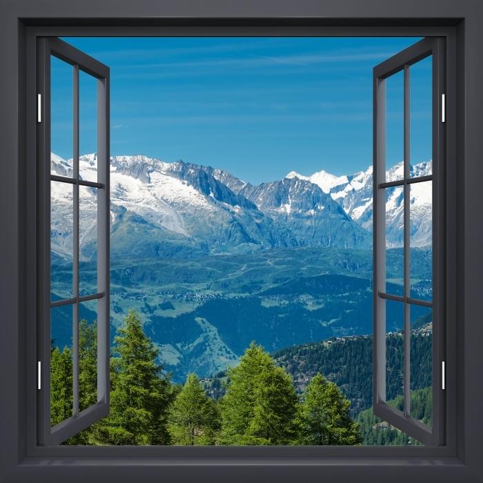 Papier peint vinyle Fenêtre Noire Ouverte - Panorama Des Hautes Montagnes - La vue à travers la fenêtre