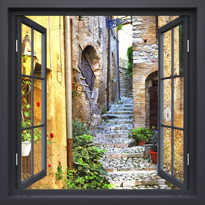 Black window open - charming old streets Vinyl Wall Mural - View through the window