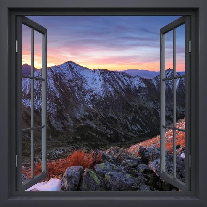 Papier peint vinyle Fenêtre Noire Ouverte - Tatry - La vue à travers la fenêtre