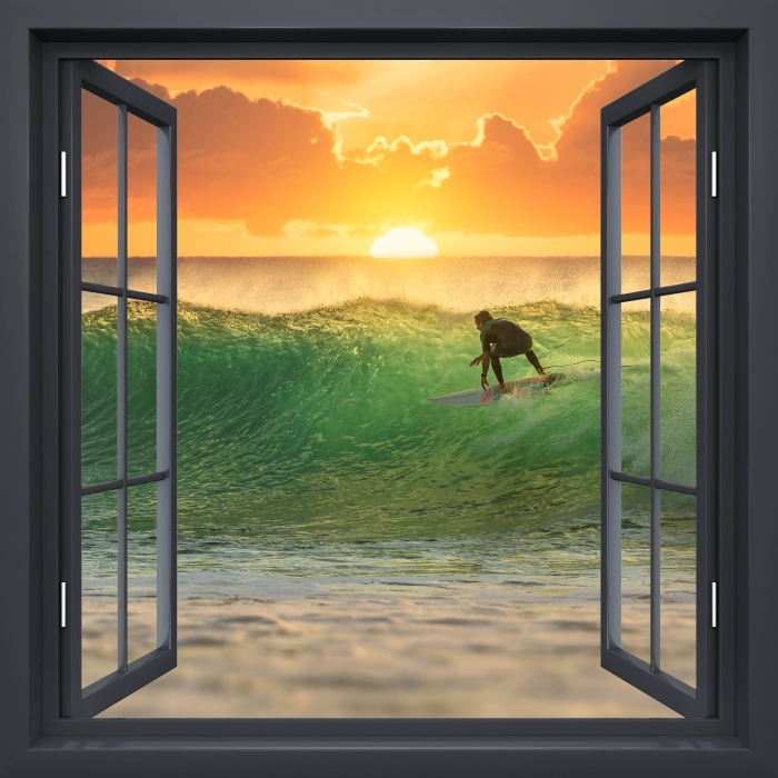 Black window open - Surfing Vinyl Wall Mural - View through the window