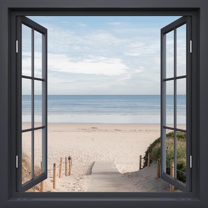 Fototapeta winylowa Okno czarne otwarte - Plaża i morze - Widok przez okno