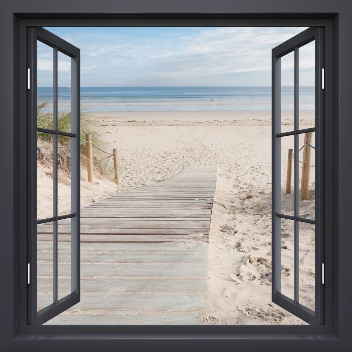 Black window open - Beach and sea Vinyl Wall Mural - View through the window