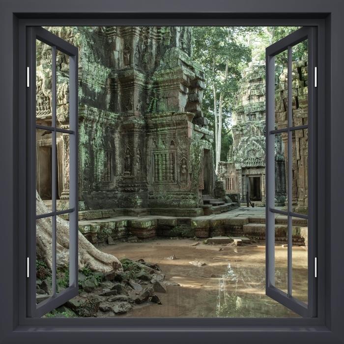 Papier peint vinyle Fenêtre Noire Ouverte - Cambodge - La vue à travers la fenêtre