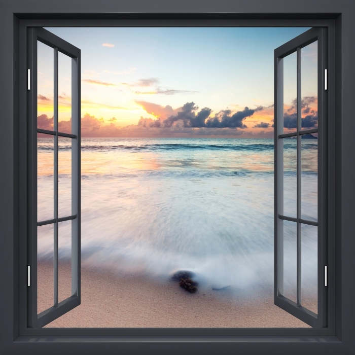 Vinyl-Fototapete Schwarz-Fenster geöffnet - Strand - Blick durch das Fenster
