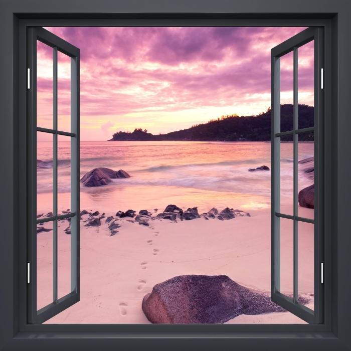 Vinyl-Fototapete Schwarz-Fenster geöffnet - Sunset - Blick durch das Fenster