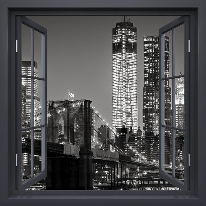 Fototapeta samoprzylepna Okno czarne otwarte - Nowy Jork nocą. Brooklyn Bridge. - Imitacje
