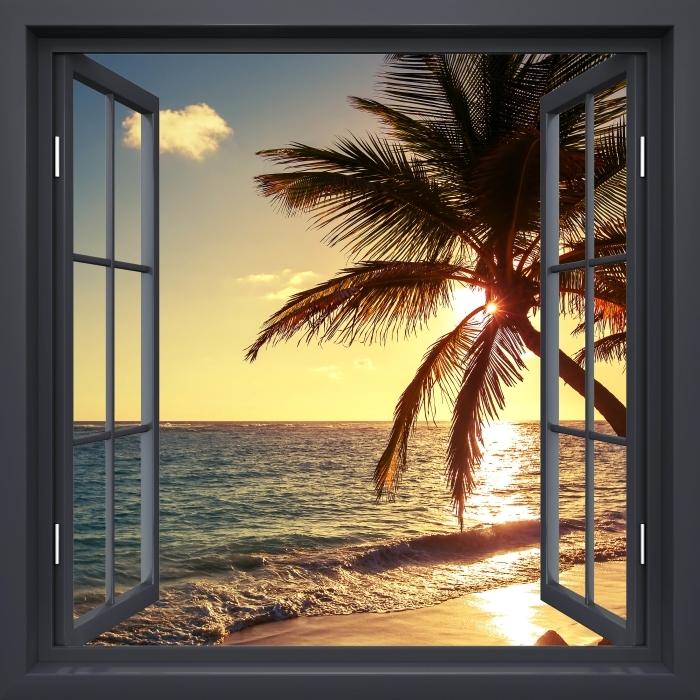 Fototapeta winylowa Okno czarne otwarte - Palmy na tropikalnej plaży - Widok przez okno