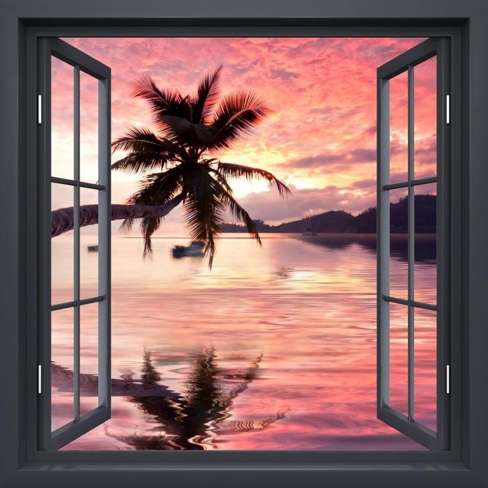 Vinyl-Fototapete Schwarz-Fenster geöffnet - Meer - Blick durch das Fenster