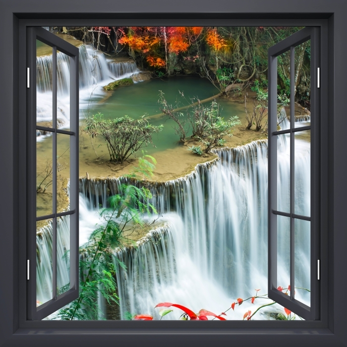 Papier peint vinyle Fenêtre Noire Ouverte - Cascade Dans La Forêt Tropicale - La vue à travers la fenêtre