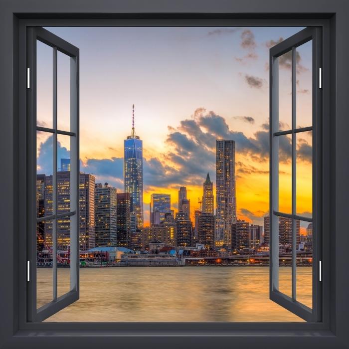 Fototapeta winylowa Okno czarne otwarte - Most Brooklyn Bridge - Widok przez okno