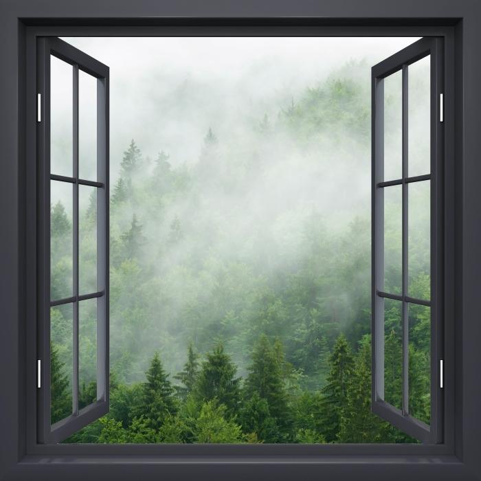 Papier peint vinyle Fenêtre Noire Ouverte - Forêt - La vue à travers la fenêtre