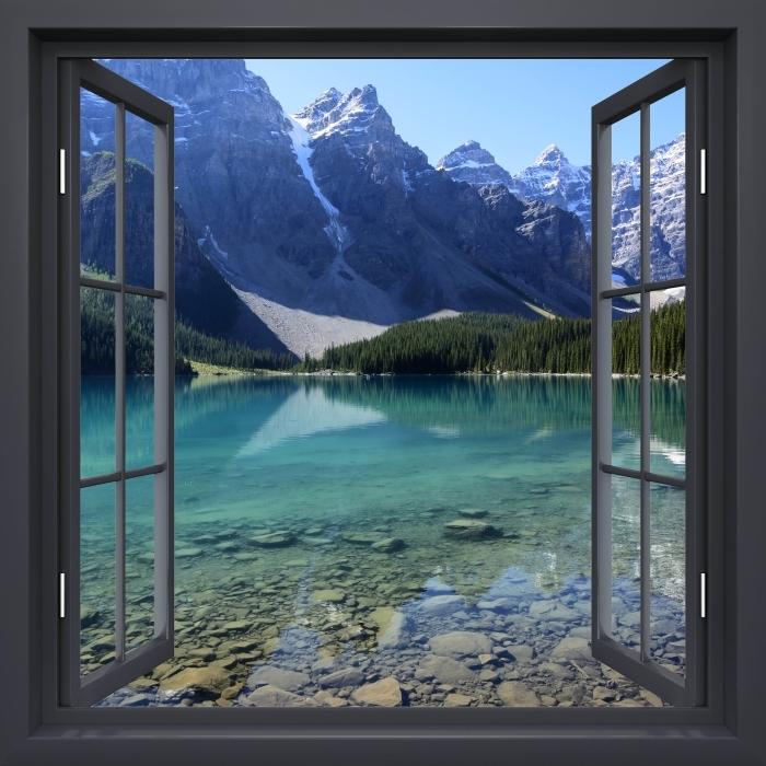Papier peint vinyle Fenêtre Noire Ouverte - Matin D'Été - La vue à travers la fenêtre