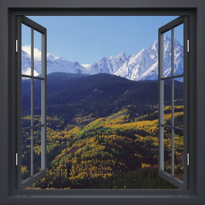 Vinyl-Fototapete Schwarz-Fenster geöffnet - Wilson Peak. Colorado. - Blick durch das Fenster