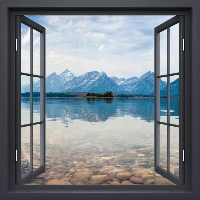 Vinyl Fotobehang Black raam open - Grand Teton National Park - Uitzicht door het raam