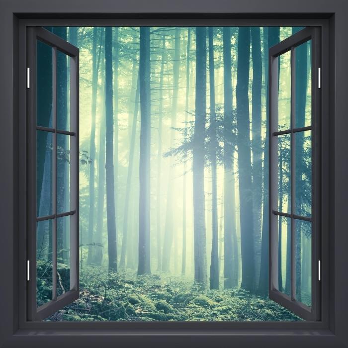 Fototapeta winylowa Okno czarne otwarte - mglisty krajobraz. Słowenia. - Widok przez okno