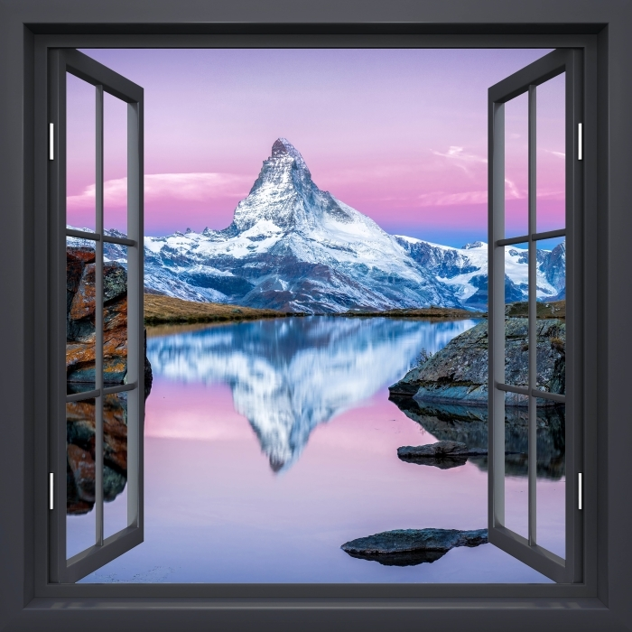 Papier peint vinyle Fenêtre Noire Ouverte - Le Lac Et Les Montagnes - La vue à travers la fenêtre