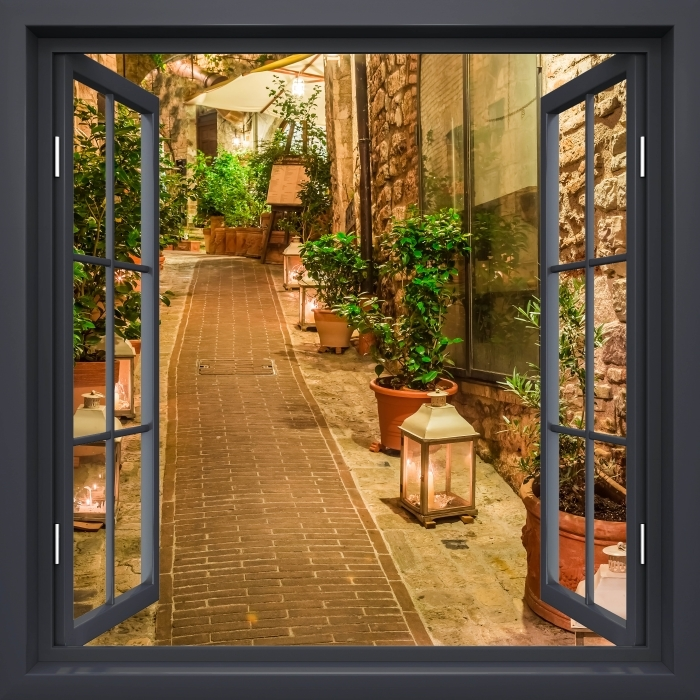 Fototapeta winylowa Okno czarne otwarte - ulica we Włoszech - Widok przez okno