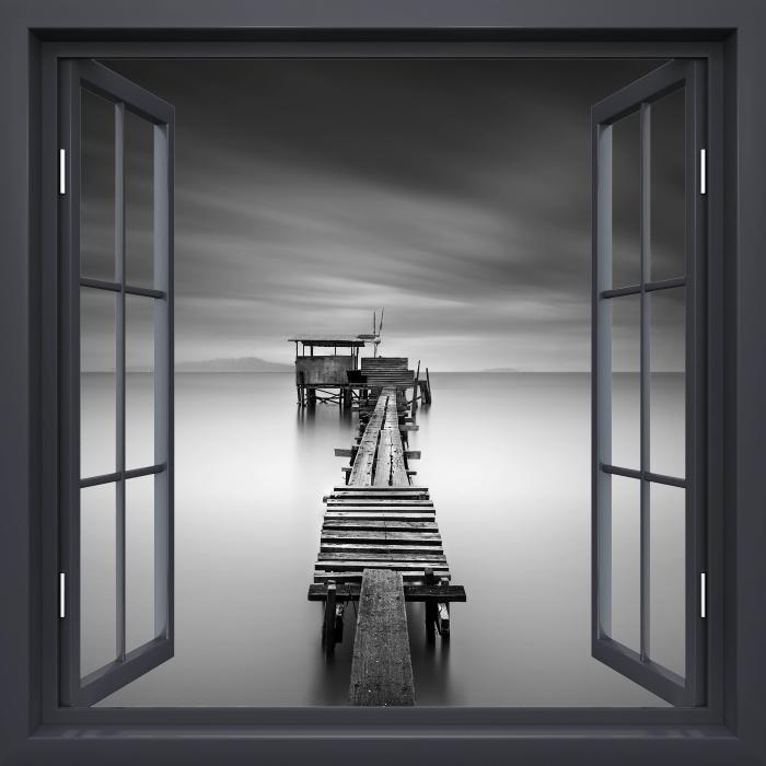 Fototapeta winylowa Okno czarne otwarte - drewniane molo - Widok przez okno