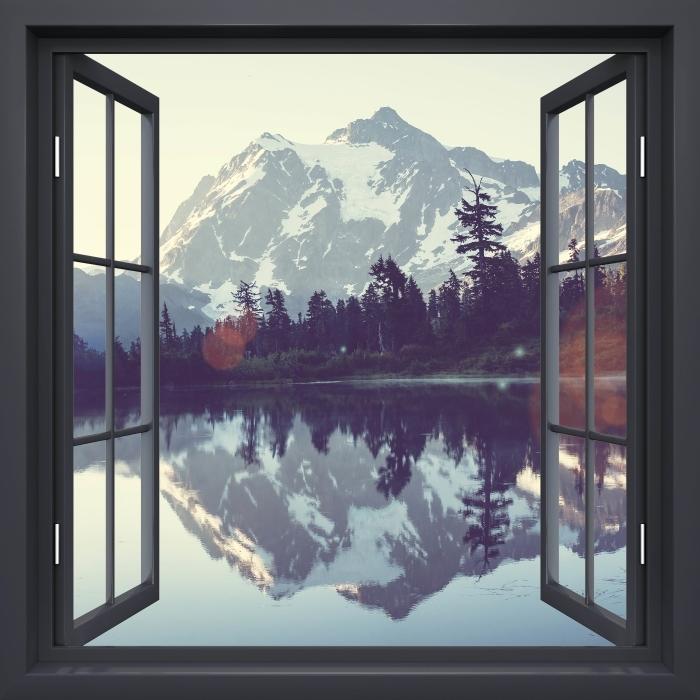 Papier peint vinyle Fenêtre Noire Ouverte - Lac - La vue à travers la fenêtre