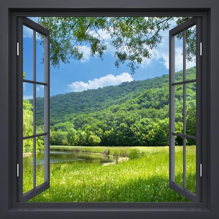 Papier peint vinyle Fenêtre Noire Ouverte - Rivière - La vue à travers la fenêtre