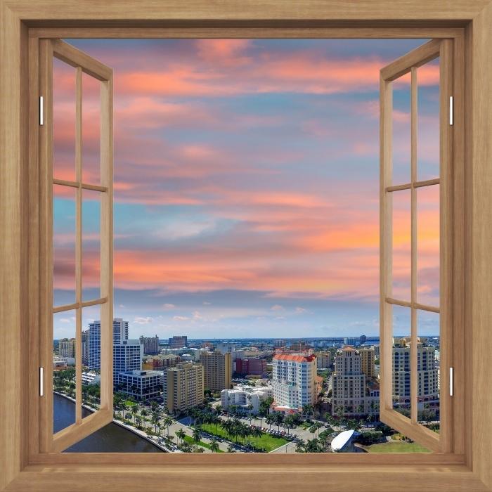 Fototapeta winylowa Okno brązowe otwarte - Widok z lotu ptaka - Widok przez okno