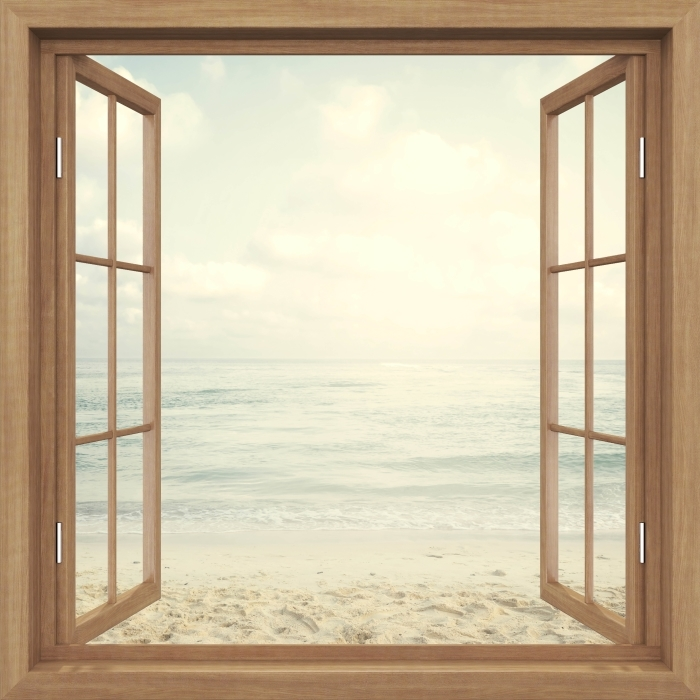 Papier peint vinyle Brown a ouvert la fenêtre - Plage en été - La vue à travers la fenêtre
