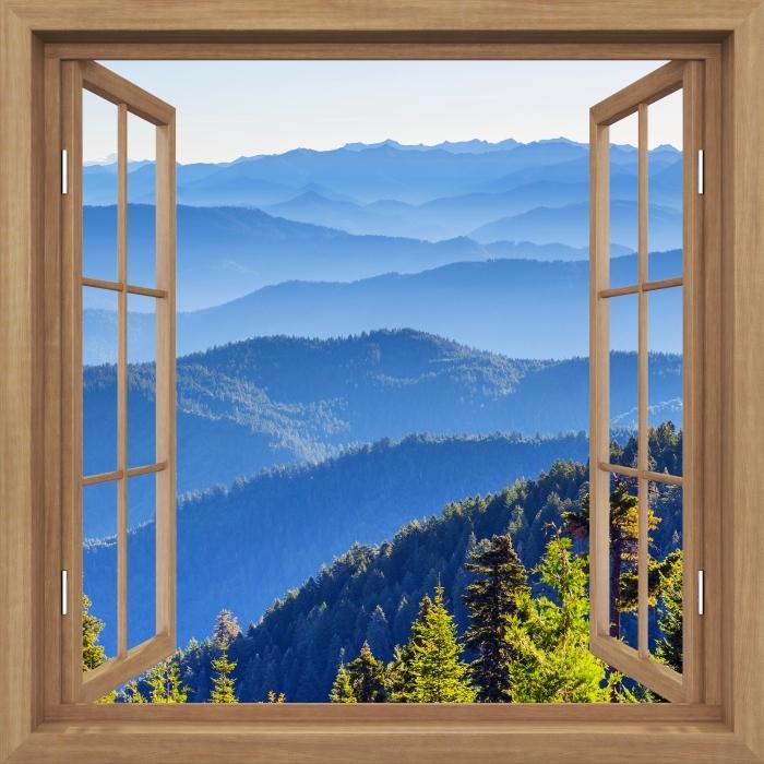Fototapeta winylowa Okno brązowe otwarte - Góry - Imitacje